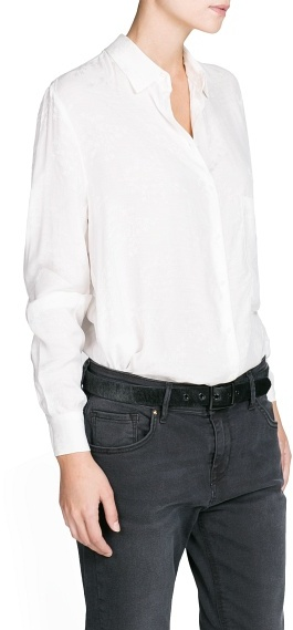 MANGO Outlet Oriental Inspired Jacquard Blouse