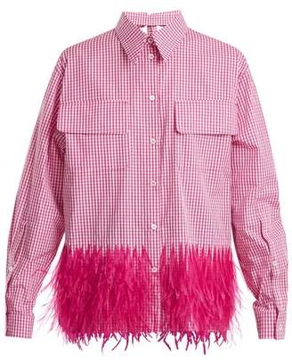 No.21 No. 21 - Gingham Feather Trimmed Shirt - Womens - Pink White