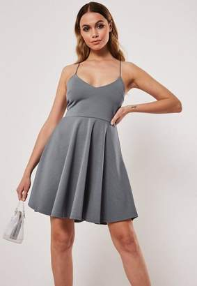 c2ac7a405ea Missguided Petite Gray Strappy Scuba Crepe Skater Dress