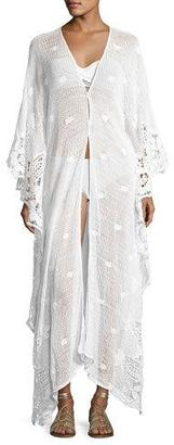 Miguelina Addison Long Scallop-Lace Caftan, White $495 thestylecure.com