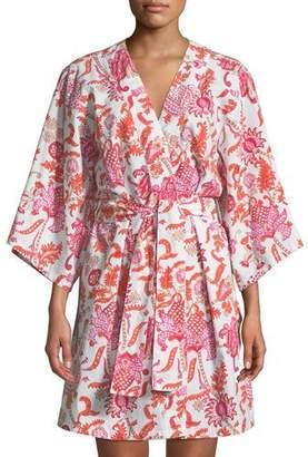 Roller Rabbit Amanda Short Kimono Robe, Orange