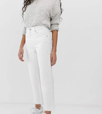 Asos DESIGN Petite Florence authentic straight leg jeans in bone chalky white
