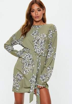 Missguided Khaki Floral T Shirt Dress