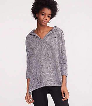 Lou & Grey Boucle Tweed Hoodie Top
