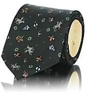 Prada Men's Colorblocked Southwestern-Print Silk Faille Necktie - Green