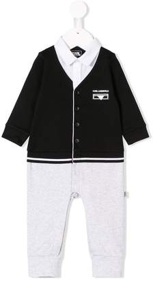 Karl Lagerfeld long-sleeve buttoned romper