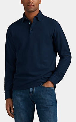 8cab01145 Loro Piana Men's Cotton Piqué Long-Sleeve Polo Shirt - Navy