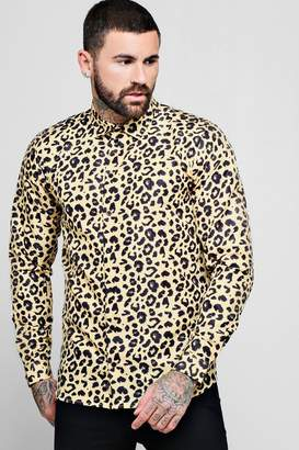 boohoo Leopard Print Long Sleeve Shirt