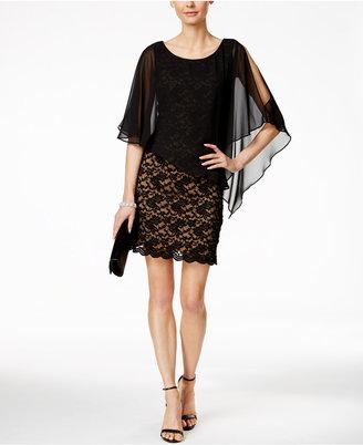 Connected Lace Chiffon Cape Dress $89 thestylecure.com