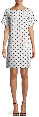 Oscar de la Renta Bow-Back Polka-Dot Crepe Dress