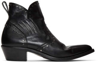 Saint Laurent Black Studded Dakota Chelsea Boots