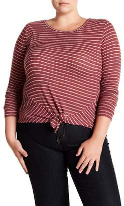 Derek Heart Striped Tie Front Long Sleeve Top (Plus Size)