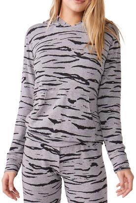 Monrow Heathered Tiger-Print Pullover Hoodie