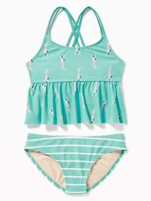 Old Navy Peplum-Hem Tankini Swim Set for Girls
