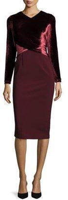 Lafayette 148 New York Long Sleeve Faux-Wrap Velvet Jersey Sheath Dress, Claret $798 thestylecure.com