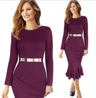 Lisa T Collecion Lisa T Burgundy Fashion Ladies Polyester Mermaid Long Sleeves Pencil Dress w/ Belt