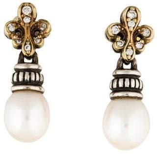 Lagos Two-Tone Fleur de Lis Diamond & Pearl Drop Earrings