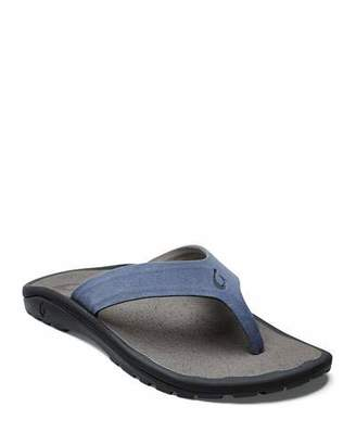 OluKai Men's Ohana Hookahi Faux-Suede Flip-Flop Sandals