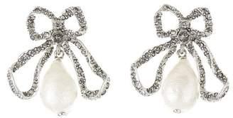 Oscar de la Renta Pearl Drop Bow Earrings