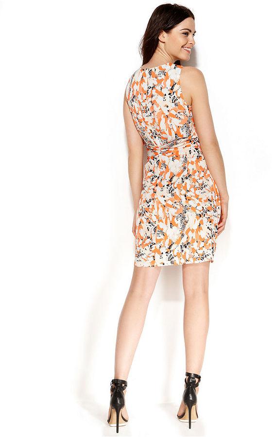 DKNY DKNYC Sleeveless Floral-Print Faux-Wrap Dress