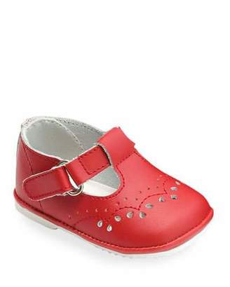 L'Amour Shoes Birdie Leather T-Strap Brogue Mary Jane, Baby