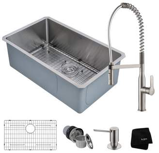 Kraus KRAUS Kitchen Combo with Handmade Undermount Stainless Steel 30 in. Single Bowl 16 Gauge Kitchen Sink and Nola Commercial Kitchen Faucet with Soap Dispenser in Stainless Steel