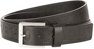 Emporio Armani Large Branding Leather Belt