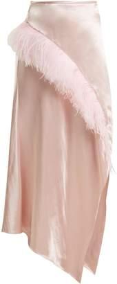 MARQUES'ALMEIDA Asymmetric-hem feather-embellished satin skirt