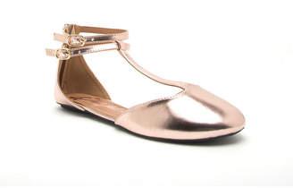 Qupid Womens Bee-113x Ballet Flats Buckle Round Toe