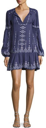 Parker Nola Long-Sleeve Split-Neck Embroidered Minidress, Slate $298 thestylecure.com