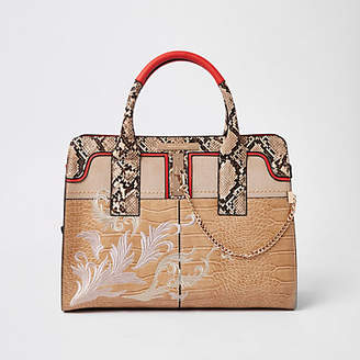 River Island Cream snakeskin embossed embroidered tote bag
