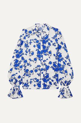Carolina Herrera Floral-print Satin Blouse - Blue