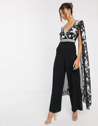 Frock and Frill contrast embroidery cape jumpsuit