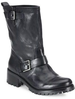 Cole Haan Hemlock Leather Moto Boots $328 thestylecure.com