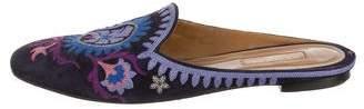 Aquazzura Embroidered Round-Toe Mules