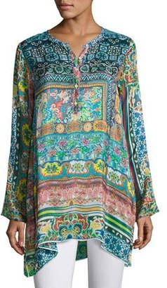 Johnny Was Frame Silk-Georgette Print Tunic, Multi, Plus Size $230 thestylecure.com