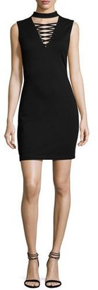 Bailey 44 El Caman Choker Lace-Up Sleeveless Mini Dress, Black $178 thestylecure.com