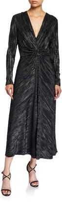 Rotate by Birger Christensen #7 Gathered Metallic Long-Sleeve Cocktail Dress