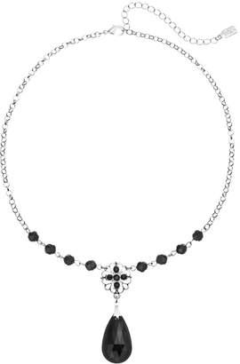1928 Bead Flower & Teardrop Y Necklace