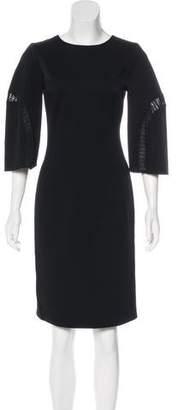 Oscar de la Renta Wool Knit-Trimmed Dress