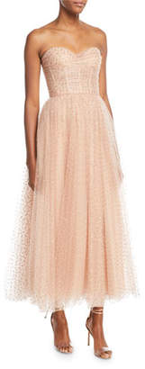 Monique Lhuillier Sweetheart-Neck Strapless Golden-Dot Tulle Cocktail Dress
