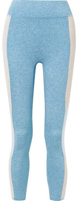 We/Me - The Center Cropped Striped Stretch-jersey Leggings - Light blue