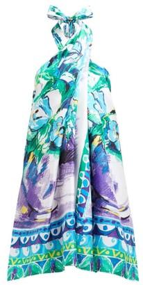 Prada Floral Print Halterneck Silk Satin Dress - Womens - Blue Multi