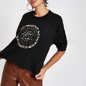 River Island Womens Black 'c'est la belle' print crop sweatshirt
