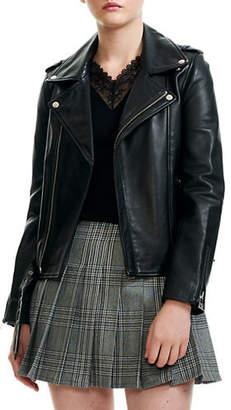 Maje Bocelix Leather Biker Jacket
