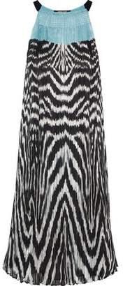 Roberto Cavalli Printed Plisse Silk-chiffon Dress