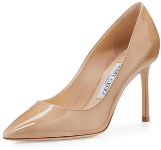Jimmy Choo Romy Patent Pointed-Toe 85mm Pump $595 thestylecure.com
