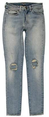 Saint Laurent Distressed Mid-Rise Jeans w/ Tags