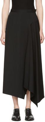 Yohji Yamamoto Black Asymmetric Wrap Skirt $950 thestylecure.com