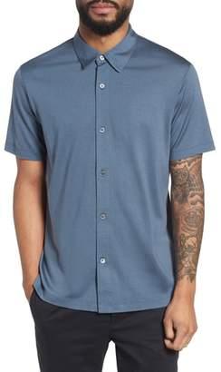 Theory Incisive Silk & Cotton Short Sleeve Sport Shirt